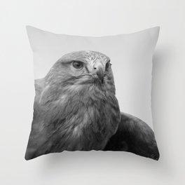 Common Buzzard BW Throw Pillow