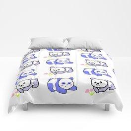 Sleepy panda and flower panda Comforters