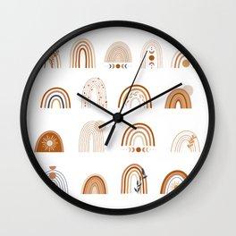 Earth color rainbows Wall Clock