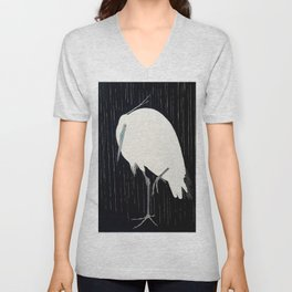 Egret standing in rain - Japanese vintage woodblock print Unisex V-Neck