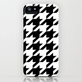 retro fashion classic modern pattern black and white houndstooth iPhone Case