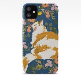 Yawning Cat - Blue iPhone Case