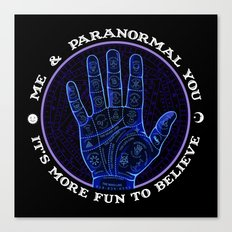 Me & Paranormal You - James Roper Design - Palmistry (white lettering) Canvas Print