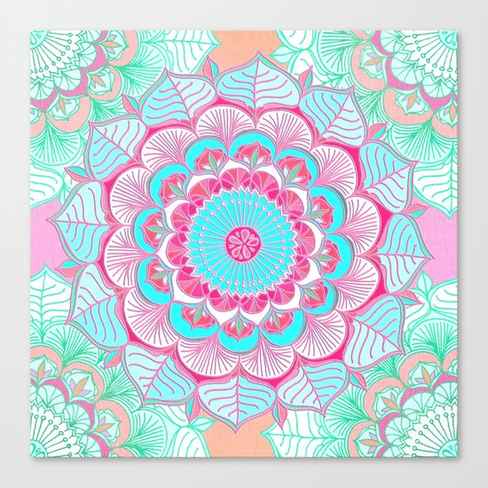 Tropical Bloom - floral doodle in pink, mint, peach, aqua, white Canvas Print