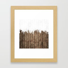 White Abstract Paint on Brown Rustic Striped Wood Framed Art Print