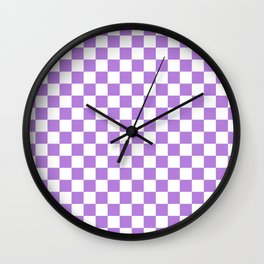 White and Lavender Violet Checkerboard Wall Clock