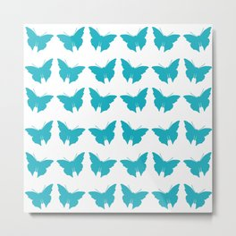 Turquoise Bold Mod Butterflies Metal Print