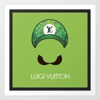 luigi Art Prints featuring Luigi Vuitton by Sam Pea