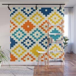 Colorful simple pixel aztec kilim pattern Wall Mural