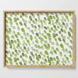 Imperfect brush strokes - olive green Serving Tray