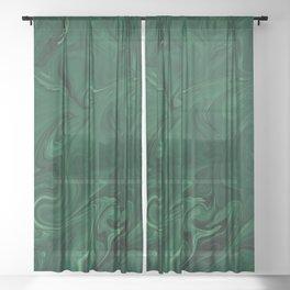 Modern Cotemporary Emerald Green Abstract Sheer Curtain