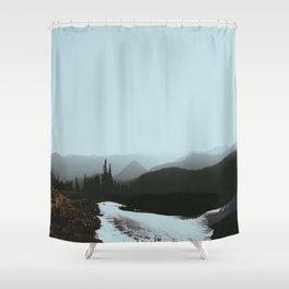 MIsty Cold Foggy Minimalist Winter Scandinavian Landscape River Greek Pine trees Shower Curtain