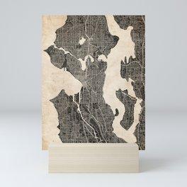 SEATTLE map Washington Ink lines 2 Mini Art Print