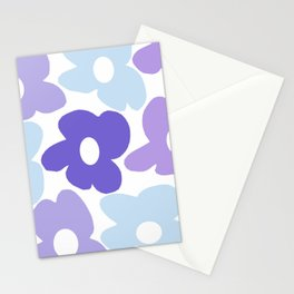 Large Purple Retro Flowers White Background #decor #society6 #buyart Stationery Cards