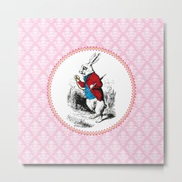 Alice in Wonderland | The White Rabbit checks the time Metal Print