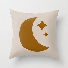 Moon & Stars - Desert Orange Throw Pillow
