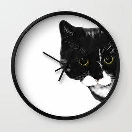 Curious Black Cat on White Background  #decor #society6 #buyart Wall Clock