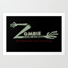 Zombie League Baseball Art Print