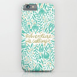 Adventure is Calling – Turquoise & Gold Palette iPhone Case
