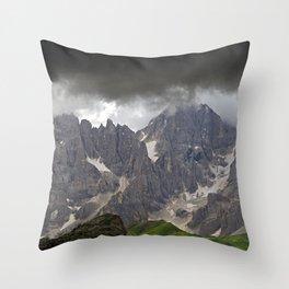 Mountains Alps Peaks Storm Throw Pillow