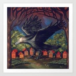 Raven Moonlight Witches Halloween Night Art Print