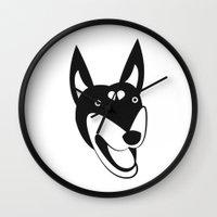 doberman Wall Clocks featuring Doberman by anabelledubois