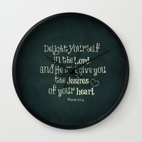 bible verse Wall Clocks featuring Delight in the Lord Bible Verse with Chalkboard Background by Quote Life Shop