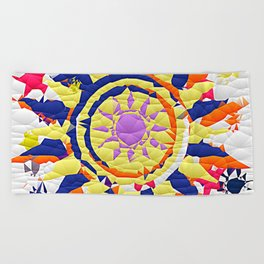 Colorful Quilted sun pattern Abstract Beach Towel