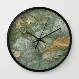 Leaves in Ice Wall Clock