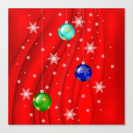 Christmas balls with background Canvas Print