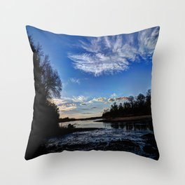 Dusk on the River Throw Pillow