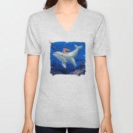 A Girl & Her Whale Unisex V-Neck