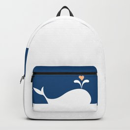 Whale in Blue Ocean with a Love Heart Backpack