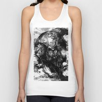 psychadelic Tank Tops featuring Black and White Psychadelic skull print  by Mermaid Seawolf