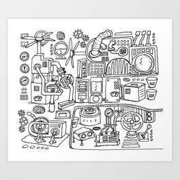 Machine room, coloring page, illustration, steampunk, black and white Art Print