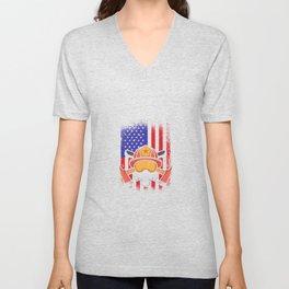 Firefighters America flag USA Unisex V-Neck