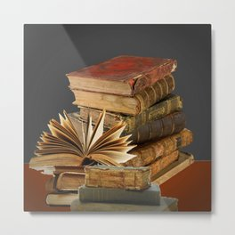 DECORATIVE  ANTIQUE LEDGERS, LIBRARY BOOKS art Metal Print