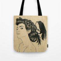 helen green Tote Bags featuring Helen by Emmy Wong