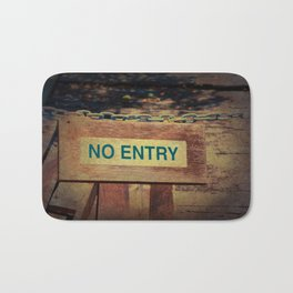 No Entry sign hanging on a chain Bath Mat