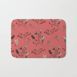 Coral Rose and Bluebells and Bluebirds Floral Pattern Flowers in Blue and Bark Brown Bath Mat
