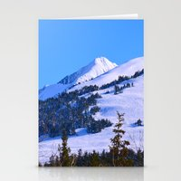 skiing Stationery Cards featuring Back-Country Skiing  - IV by Alaskan Momma Bear