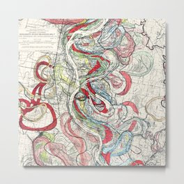 Beautiful Vintage Map of the Mississippi River Metal Print