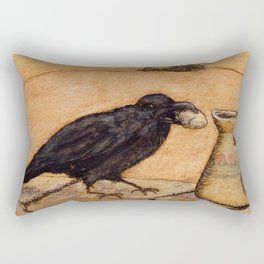 Crow and Pitcher from Aesop's Fables - Necessity is the mother of invention Rectangular Pillow