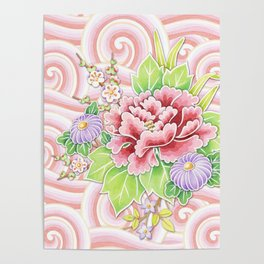 Pink Kimono Bouquet Poster