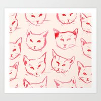 novelty Art Prints featuring Red Cat by leah reena goren