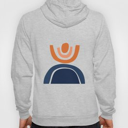Abstract Shapes 23 in Burnt Orange and Navy Blue Hoody