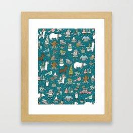 Holly Jolly Christmas Pattern, Holiday Decor, Blue Christmas, Fa la llama, Hand Drawn Illustrations Framed Art Print