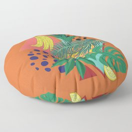 Geometric pineapple with tropical leaves and fruits retro design Floor Pillow