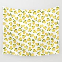 Watercolor lemon pattern Wall Tapestry
