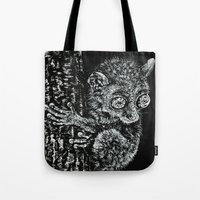 philippines Tote Bags featuring Bohol Tarsier from the Philippines by Nathan Cole